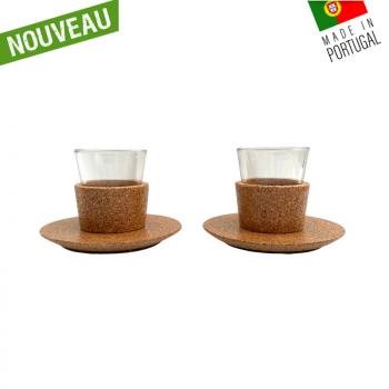 Tasse à café en liège & verre - Tasse expresso