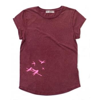 Tee-shirts bordeaux coton bio hirondelles