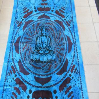 Tenture indienne bleue bouddha