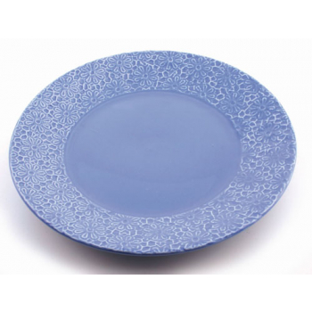 """Assiette """"prairie"""" bleu"""