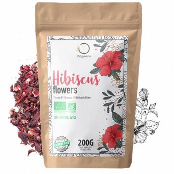 Hibiscus Bio 200g - Fleur Hibiscus pour Bissap, Thé glacé, Infusion et Tisane