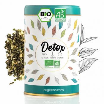 Thé Detox dans une magnifique boite fabriquée et conditionné en France