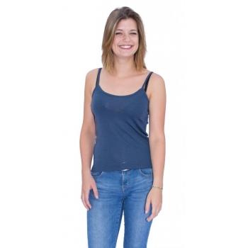 Top à bretelles reglables, en pure laine mérinos COOLMAN bleu jean
