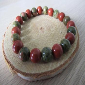 Bracelet Jaspe rouge et Unakite