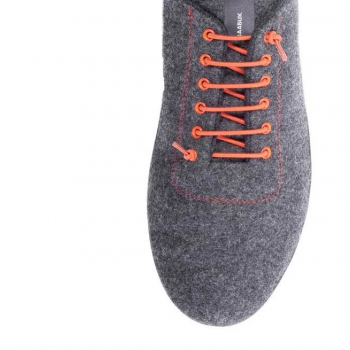 Baskets SNEAKERS 100% laine Urban Wooler GRIS lacets orange unisexe