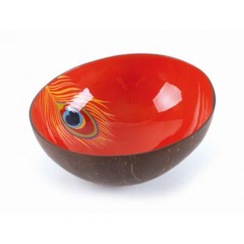 """Bol en noix de coco """"plume de paon"""" rouge"""