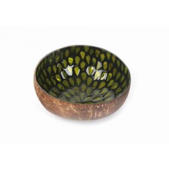 Bol en noix de coco avec incrustations en nacre vert