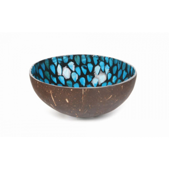 Bol en noix de coco avec incrustations en nacre bleu