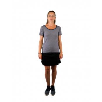 T-shirt femme manches courtes col arrondi, rayures marine en pure laine mérinos coolman