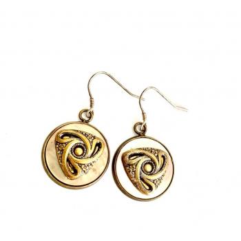 Boucles d'oreilles artisanales en boutons anciens couleur bronze