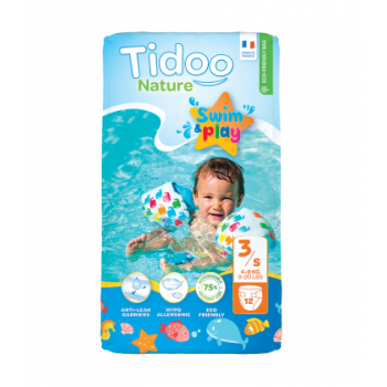 Couches Swim & Play T3 S - 4-9kg - 12 pièces - Tidoo Nature