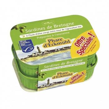 Lot de Sardines à l'huile d'olive vierge extra bio - 2x135g - Phare d'Eckmühl