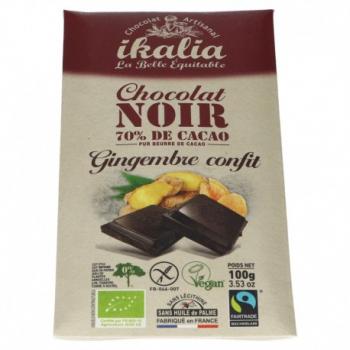 Chocolat Noir 70% Gingembre Confit - 100g - Ikalia