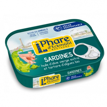 Sardines Huile d'Olive et Tartare d'Algue - 135g - Phare d'Eckmühl