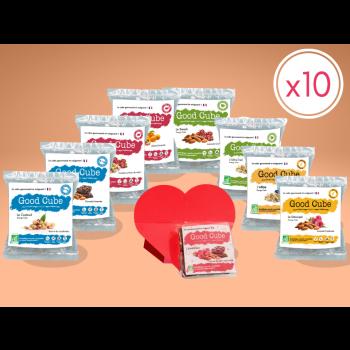 Pack de biscuits Saint-Valentin : 8 sachets de 35g + 2 boites cœur de 20g - BIO