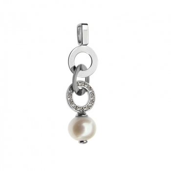 Pendentif  perle de culture sur argent rhodié, assorti de petits brillants de Swarovski.