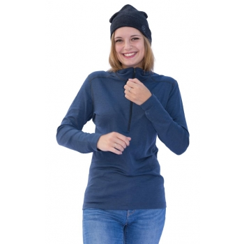 ZIP Unisex Pure Laine Merinos COOLMAN Bleu Jean