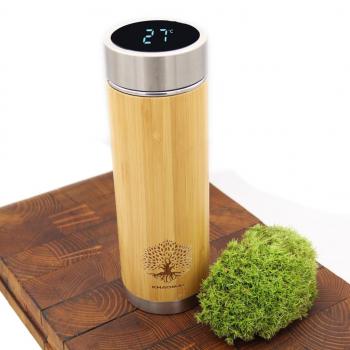 Gourde isotherme en bambou avec affichage de température bouchon LED – Bouteille Thermos isotherme en bois - bouteille isotherme écologique - Gourde inox - Mug isotherme - Thermos café - Infuseur thé