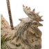 Lampe de table à poser Poule patine blanche Abat jour brun à plumes  H.64 cm
