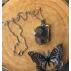 Pendentif Agate mousse Violette Ruban Wire