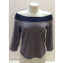 T-shirt femme manches 3/4 col BATEAU à bord côte large, rayures marine, en pure laine mérinos COOLMAN