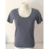 T-shirt femme manches courtes col arrondi, gris en pure laine mérinos coolman