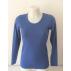 T-shirt femme manches longues col O bleu d'été  pure laine mérinos coolman