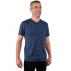 T-shirt homme manches courtes col V BLEU INDIGO en pure laine mérinos