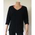 T-shirt femme manches 3/4 col V noir en pure laine mérinos COOLMAN