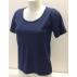 T-shirt femme manches courtes col arrondie, en pure laine mérinos, BLEU INDIGO
