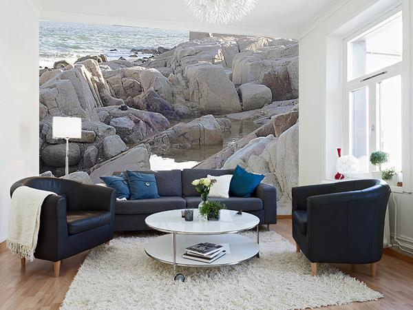 rochers en bord de mer papier peint vinyle pan de mur 2x158x250 sevellia. Black Bedroom Furniture Sets. Home Design Ideas